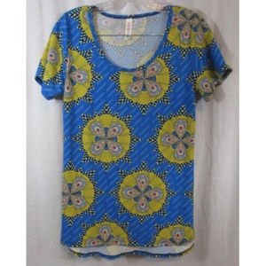LuLaRoe Blue Yellow Bright Print Tunic Top XS